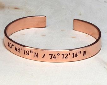 Party Favor Copper latitude longitude cuff bracelet personalized wedding favors - BR023