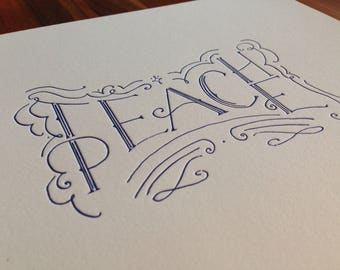 Teach Peace Letterpress Print