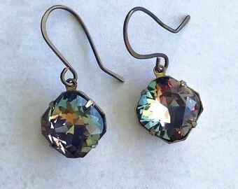 Swarovski Twilight / Sparkle Earrings / Crystal Drop Earrings / Elegant Jewelry / Cushion Cut Earrings / Swarovski Jewelry / 12x12 mm Stone