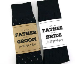 Father of the Bride Sock Wrapper, Father of the Groom Sock Wrapper, Wedding Day Gift, Wedding Socks Wrapper, Wedding Socks Label