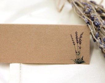Lavender Wedding Place Cards (Brown Kraft) x 50