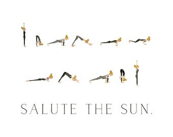 Salute the Sun - Watercolor Yoga Print