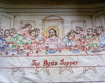 """Vintage The Lord's Last Supper Hand Embroidered/Crewel Cotton & Lace - This is 36"""" x 22""""!"""