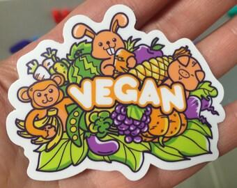 Kawaii Vegan Sticker / Decal (3 Sizes)