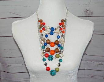 Multi Color Chandelier Necklace