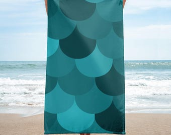 Turquoise Large Scale Design Patterned Towel AndieJ Designs for Home and Leisure