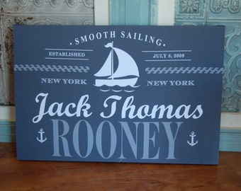 Personalized Nautical Wall Hanging - Smooth Sailing
