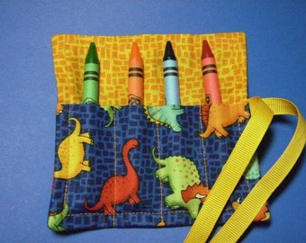 Mini Crayon Keeper 4-Count Roll Up Holder Party Favor  - Dinosaurs