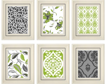 Set of Six Modern Green/Gray Wall Art- Print Set - Home Decor (Unframed)