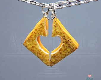 Grilled Cheese Best Friends Necklace Set, Polymer Clay Food, Miniature Food, Fake Food Jewelry, Friendship Jewelry, Best Friends Gifts