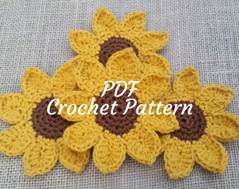 Crochet Sunflower Coaster Set Pattern - Fall Decor - Autumn Decor - Coaster Set - Flower Coasters - Directions - Flower Coasters - PDF