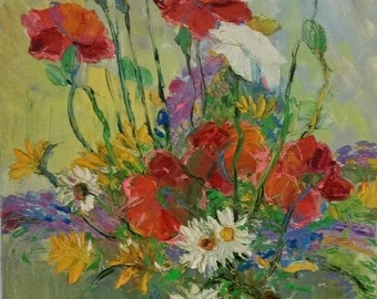 Oil painting Red poppies chamomile - Original painting flowers picture Canvas painting - Still life painting Poppies chamomile wall art