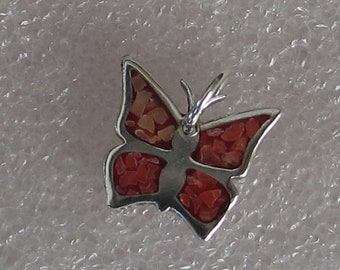 Vintage Sterling Silver Coral Inlay Butterfly  Charm 13mm