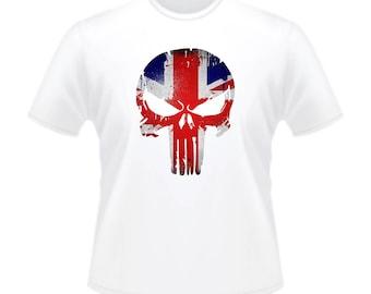 The UK Punisher Marvel Action Movie Jagged Skull T-Shirt