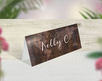 Rustic Wedding Place Cards, Travel Theme Name Cards, Rustic Place Setting, Rustic Table Decor, Barn Wedding, Woodland Wedding, Folded Card