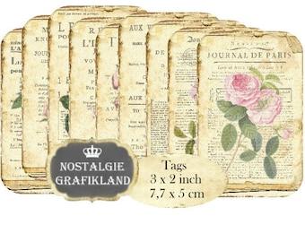 French Ephemera Tags Journal Magazin France Paris Vintage printable Instant Download digital collage sheet T114