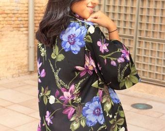 SALE! Kimono cardigan jacket with floral print. Chiffon kimono with french sleeves. Autumn kimono. Perfect for weddings, parties, etc.