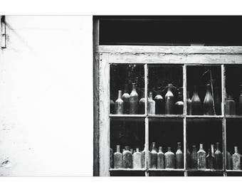 New Orleans French Quarter Photography Vintage Bottles Photography NOLa Art Architecture Photography Black and White Photography Window
