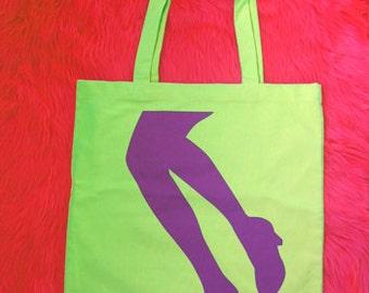 Supaflarez LEGS design 100% cotton canvas tote bag—Lime