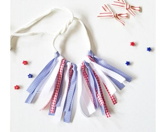 Red, white, and blue fringe necklace