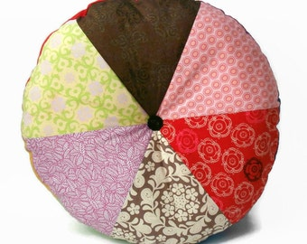 "Lazy Autumn Days 16"" Handmade Stuffed Circular Wedge Cushion / For the home / Home Decor / Throw Pillow / Floor Pillow / Modern Pillow"