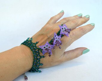 Purple stars slave bracelet from Elfin Garden collection Botanical bracelet of glass seed beads Floral bracelet in purple and green B350