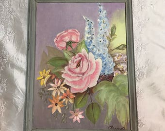 Vintage original oil PAINTING signed Eleanor floral flowers pink ROSES art hand painted art home decor 70s