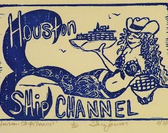 "4x6"" mermaid block print ""Houston Ship Channel"""