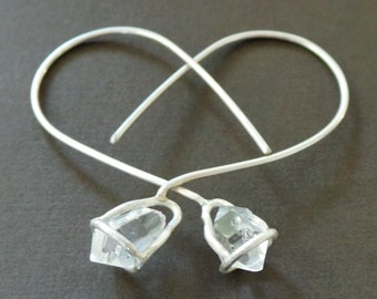 Herkimer Diamond Raw Nugget Sterling Earrings Terminated Crystal Quartz Points Tips