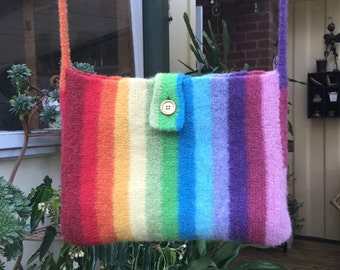 Rainbow Striped Bag / Tote Bag / Felted Wool
