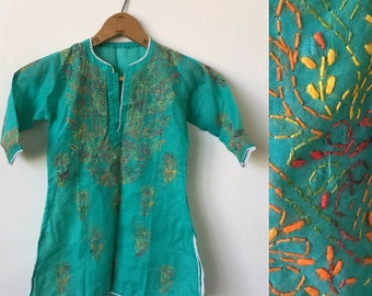 Vintage Embroidered 1970's Girl's Indian Cotton Hand Embroidered 70's Boho Hippie Dress