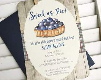 Sweet as pie baby shower invitation, baby boy shower, sweet as pie party invitation, it's a boy shower, blueberry pie invitation, set of 10