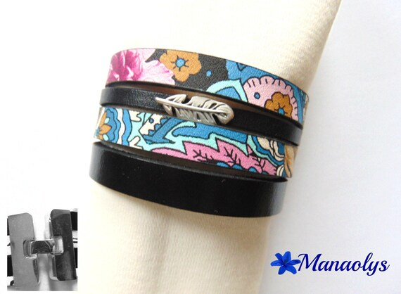 Black and floral Cuff Bracelet, genuine leather and split leather