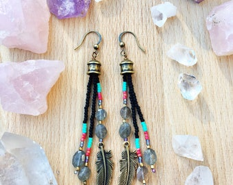 Long Seed Bead Earrings, Labradorite Earrings, Long Feather Earrings, Boho Seed Bead Earrings