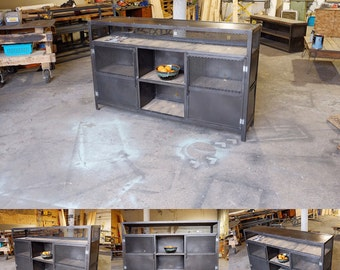 Industrial Steel Vinyl Media Record Console/ Credenza/ Stand/ Buffet
