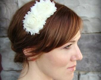 Flower Headband - Shabby Chic Headband in Ivory for Women and Girls