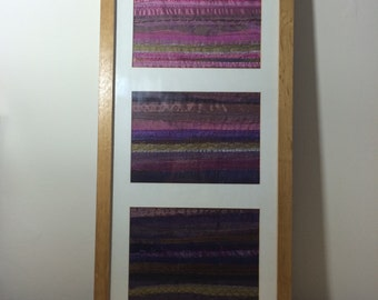 Abstract Textile Triptych in Shades of Pinks, Purples and Browns.