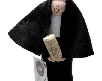 Funny Nun doll, Cute Catholic gift, wine lover doll, wine drinker, gift for wine drinker, fun bar decor, Sister Dani Devino