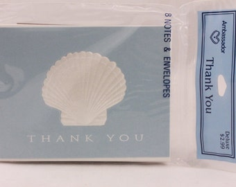 Hallmark Ambassador White Shell Blue Background Thank you Cards. 8 cards and 8 envelopes. Sealed