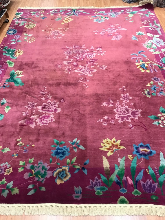 """8'6"""" x 11'6"""" Antique Chinese Art Deco Oriental Rug - 1920s - Hand Made - 100% Wool"""