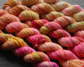 Speckled Hand dyed Merino Wool Sock Yarn - Mini-Skein Set - FRUIT PUNCH GRADIENT by Monarch Fibers