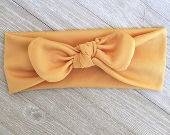 Mustard stretch fabric headband for Toddler, child or adult