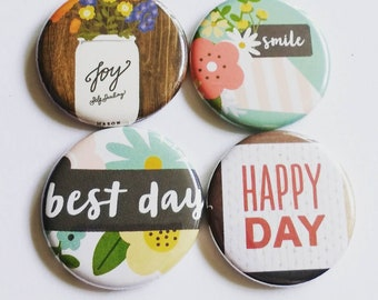 Kitchen Magnets, happy, joy ball jar, smile, happy day, positive vibes, set of four