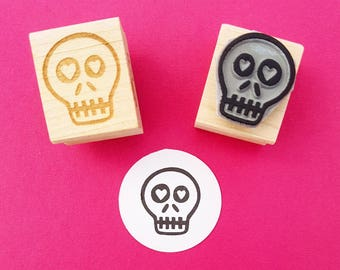 Skull Stamp - Love Sick Skull rubber stamper - Gift for Boys - Halloween Stamp - Gift for Teens - Alternative - Goth - Stocking Filler