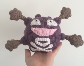 Koffing pokemon knitting pattern plushie toy childrens soft toy amigurumi knit knitted pdf download