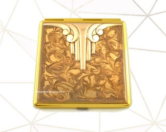 Art Deco Compact Mirror Inlaid in Hand Painted Enamel Gold Swirl Design with Color and  Personalized Options