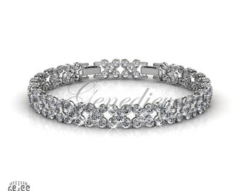 Swarovski Crystals Clear Flower Bracelet with Seal of Authenticity 6.25 - 7.25 inches