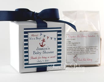 NAUTICAL BABY...One Dozen (12) Personalized Cupcake Mix Baby Shower Favors