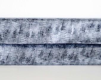 Snake Skin Clutch, Glossy Blue Grey Foldover Clutch, Black Interior, Metallic, Vinyl, Party Clutch, Handbag, Foldover Clutch, glossy,