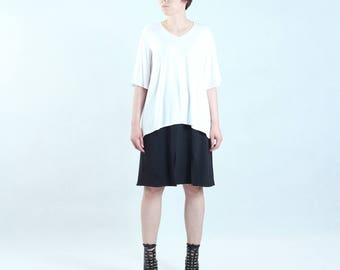 simple white blouse with wide short sleeves, basic white t-shirt tshirt tee